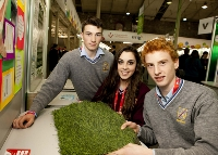 WEST SLIGO: Eamonn Kilgannon, Orlagh O'Dowd and Sean Carrabine from Jesus & Mary Secondary School, Enniscrone, Sligo and their project 'Artificial vs natural; An investigation into the impact of artificial turf pitches on athletes muscles and joints compared to natural grass and the advantages and disadvantages of both pitches'.