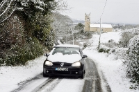 Navigating a snow covered road in Skreen, West Sligo.