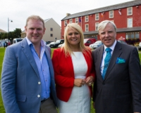 TOP SERVICE: Patrick Markey and Louise McArdle, owners of the Beach Hotel in Mullaghmore, with Francis Brennan of the popular RTE 1 programme At Your Service. The Mullaghmore hotel will feature on this Sunday evening's edition of the programme.