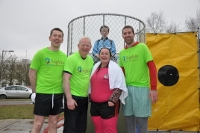 FUNDRAISING: Stephen Doak, Vincent Cunnane, Helen Campbell, Cillín Folan and Austin O'Callaghan (background) taking the Dunk to raise funds for Sophia.
