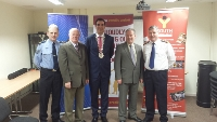AWARDS: From l-r, Sergeant Philip Maree, Peter Tiernan of Sligo Credit Union, Mayor Tom MacSharry, Cllr Seamus Kilgannon and Superintendent Michael Clancy at the launch of the Garda Youth Achievement Awards.