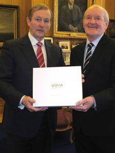 FROM SLIGO WITH LOVE: Tony McLoughlin presents Enda Kenny with VOYA's gift from Sligo to Michelle Obama for St Patrick's Day.