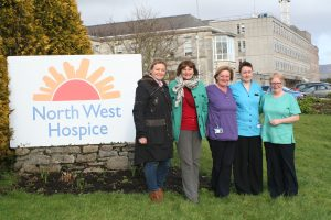 Secret Gardens: Annette Coleman, Martina Flynn pictured with Margaret Fowley, Fran Butler and Veronica Conway, staff of the North West Hospice.