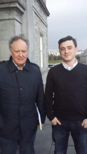 DEBATE: Vincent Brown of TV3 pictured here with Sligo Weekender journalist Luke Henderson, outside the Clario Hotel before Monday's 'People's Debate'.