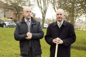 Tommy Gorman and Michael McHugh at the sod turning ceremony