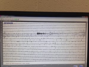 BAD VIBRATIONS: Readings from the seismometer in IT Sligo after registering activity from the earthquake.