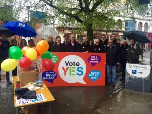 STREETS: Canvassers on O'Connell Street campaigning for a Yes vote in tomorrow's marriage referendum.