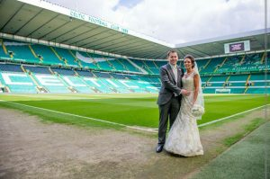 TWO TICKETS TO PARADISE: Newlyweds Aidan and Tracy Gallagher stand on the hallowed turf of Celtic Park to have their wedding photos taken.