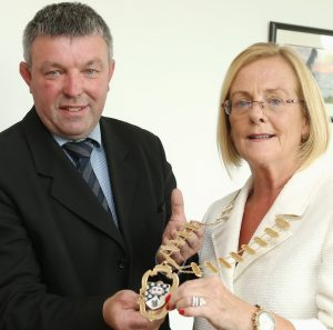 STATEMENT: Cllr Joe Queenan handing over the chain of office Cllr Rosaleen O'Grady earlier this year. The Cllr has made a statement in response to an RTE Investigates programme this week.