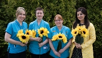 SUNFLOWERS:  At the launch of Sunflower Days were North West Hospice Staff (l-r) Staff Nurses Olivia O'Connor, Gráinne O'Hara and Fran Butler with Community Relations Manager Bernadette McGarvey. Sunflowers and pins will be available to buy from North West Hospice volunteers throughout Sligo, Leitrim and South Donegal, and the public's support would be greatly appreciated.