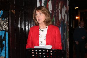 READING: Tanaiste Joan Burton reading a Yeats poem in Hargadons on Monday.