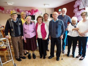 WELCOME: Some of the residents of Abbey Haven pictured with their entertainers (l-r) Jim Kelly, Eleanor Shanley, Annie Gallagher, Tina Walsh, Frank Feerty, Thomas Costello, Charlie McGettigan, Mai Neary and Breeg Mulryan.