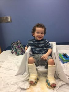 POST OP: Little Rory Gallagher pictured after the operation which his family hope will transform his life by allowing him to walk.