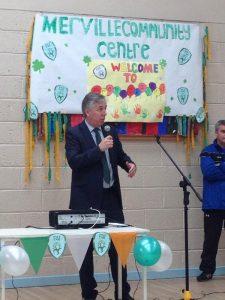 SPEAKER: FAI CEO John Delaney speaking at Merville Community Centre.