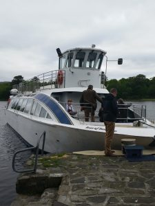 TOUR BOAT: The new pontoon landing facility would allow tour boats such as the Rose of Innishfree to operate from Doorly Park. This picture shows the vessel having to board passengers on Yeats Day 2015 via the bow.