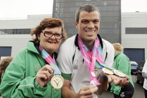 SPORTING HEROES: World Games medal winners Margaret Carr and Thomas Connolly, displaying their medals.