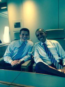 JET SET: Brendan F. Boyle pictured with President Barack Obama aboard Air Force One.