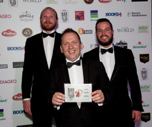 AWARD: Shaun Boyle, Declan Harrison and Darren McGovern of Harrison's Bar & Restaurant, Cliffoney, at the Sky Bar Awards in The Mansion House, Dublin, where they were named Country Bar of the Year.