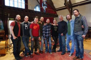 "MUSIC ROYALTY: Sligo band Rackhouse Pilfer pictured in the studio with Imelda May (fourth from right) and Tom Jones (third from right) where they recorded songs for Tom's new album ""Long Lost Suitcase""."