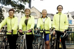 BIKES: Anne Gorby, Colette O'Hagan, Pamela Scanlon and Leonie Boyce arrive back in Sligo having completed their charity cycle.