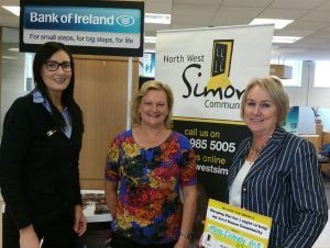 THE BIG SLEEP:  Wendy Douglas (Customer Service Manager at Bank of Ireland), Mary McKeon (Development Officer at North West Simon Community) and Mena Doherty (Commercial Branch Manager at BOI). Mena has signed up for this year's Street Sleep on Friday, October 2 for the North West Simon Community.