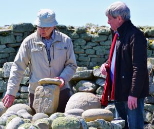ISLAND RUINS: UTV Ireland's Lesser Spotted Journeys presenter Joe Mahon (right) with Mullaghmore historian Joe McGowan exploring the ruins of the 6th century monastery of St. Molaise on Innismurray island.