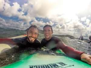 SURF SIBLINGS: The vagabrothers, Marko (left) and Alex Ayling, surfing in Strandhill.