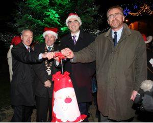 Christmas Lights Sponsor John King (Key Account  Manager, Energia) with Cllr Joe Queenan (Cathaoirlach, Sligo County Council), Cllr Tom Mac Sharry (Mayor of Sligo), Paul Keyes (CEO, Sligo Chamber of Commerce) at last year's official ceremony.