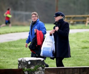 Bob Geldof Visits Lough Key's Castle Island filming for his RTE/BBC programme on WB Yeats. Pic Shows. Bob Geldof carries his laundry bag through Lough Key Forest Park following his visit to Castle Island. Photo Brian Farrell