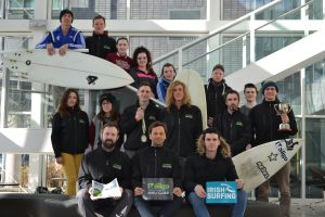 TEAM: The IT Sligo surfing team and mentors, which won the National Intervarsity Championships 2016 in Strandhill last weekend.