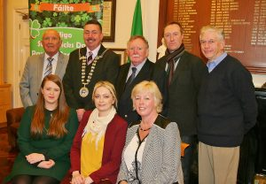 COMMITTEE: Members of the Sligo St. Patrick's Day Parade committee Tommy MacSharry, Roddy McGuinn, Bernard Hayes, Eddie Watters, Cassandra Mooney, Cathy Fletcher, Deirdre Healy-McGowan pictured with Mayor of Sligo Municipal District Cllr Thomas Healy.