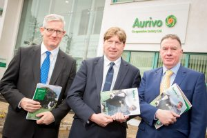 FINANCES: Aurivo CEO Aaron Forde (right) with the co-op's Chief Financial Officer Donal Tierney (left) and chairman Tom Cunniffe at the announcement of the co-op's financial results for last year.
