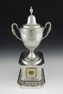 HISTORY: The Collooney Cup stands over 70 centimetres tall from plinth base to lid tip.  The guide price for the cup is €20,000-25,000.  It will be auctioned on April 19.