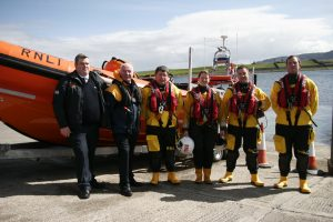 AT THE READY: Sligo Bay Lifeboat Station crew get ready to launch the newly named Sheila & Denis Tongue Atlantic 85 lifeboat.