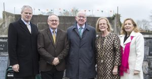 Pictured at the official opening of the commemorative garden in Banada on Sunday are (from left): Sligo Co Council CEO Ciaran Hayes; Sligo Co Librarian Donal Tinney; Minister for Foreign Affairs Charlie Flanagan; Co Council cathaoirleach Cllr Rosaleen O'Grady and Co Council Director of Services Dorothy Clarke.