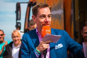 VISIT: Ryan Tubridy pictured during his last visit to Strandhill, in July 2014.