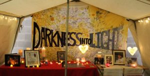 HeadlineOver 2,000 walk TENT: The Darkness Into Light tent which had signatures from most of the participants displayed.