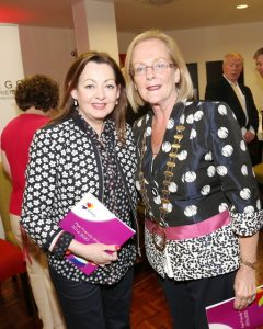 Singer Sandy Kelly, who launched the Age Friendly Strategy for Sligo, picted at the launch with Sligo County Council cathaoirleach Cllr Rosaleen O'Grady.