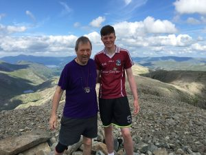 SOARING BIRDS: Jeremy and Paddy Bird atop Scaffell Pike in Cumbria, England last week.