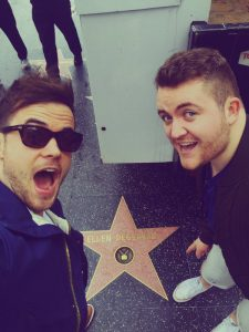 HeadlineSligo son who has sung with Adele and talked to STARS: Ronan Scolard (left) and Glenn Murphy are star struck walking along the Hollywood walk of fame on their way to the Ellen De Generes Show.