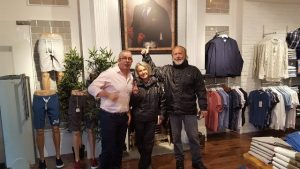 HELPFUL: Eamonn Cunningham of EJ's Menswear who helped out the biker couple.