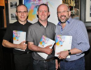 Des Faul, Karl Kelly and Finbarr Filan at the official programme launch for The Sligo Festival. Photo by Alan Finn.
