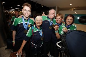 HOMECOMING: At Dublin airport are Team Ireland members Matthew McNeive (Mayo), Linda Waters (Galway), Harry Ward (Dublin), Marie O'Connor (Clare) and Sligo's own medal winner, Bridie Nicholson.