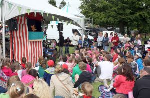"""Cupcake Puppet Show"" for the children (and Adults) in Sligo's Peace Park during Parkfest."