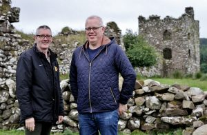 MOYGARA CASTLE: Adrian Tansey (left) of Moygara Castle Conservation Group and PJ O'Neill, owner of Moygara Castle.